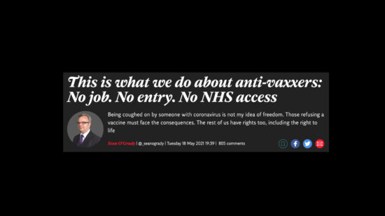 This is what we do about the Anti-Vaxxers No Job. No Entry. No NHS Healthcare Access